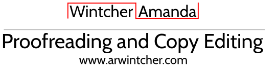 Amanda Wintcher Proofreading and Copyediting